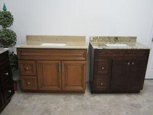 vanity, kitchen cabinet, backsplash,range hood,sink, faucet..
