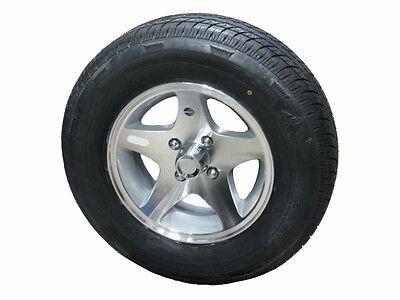 "04R 175/80R13 LRC Radial Trailer Tire on 13"" 4 Lug Aluminum Trailer Wheel acc"