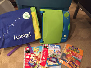 LEAP PAD, back pack case and 3 books with cartridges