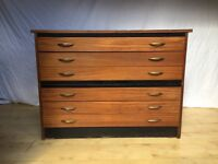Vintage artist architect map plan chest of drawers