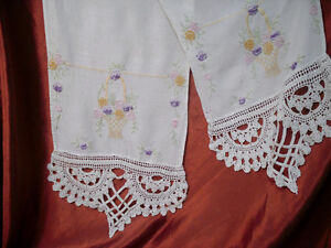 several different pieces of Vintage embroidered linen