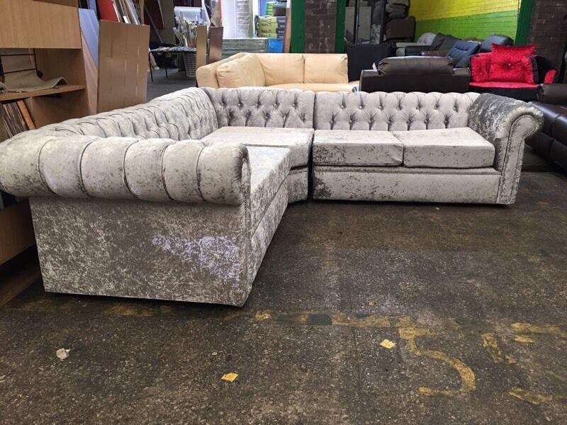 Full back Chesterfield corner sofa scroll arm diamantu00e9 button crushed velvet fabric velour ...