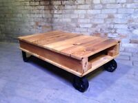 Industrial chic cart style coffee table