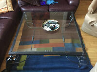 Unique iron and glass coffee table