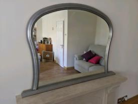 Mirror for mantelpiece, Silver
