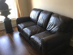 Brown Leather Couch and Chair - Canada Made Authentic Leather
