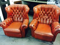 2 chesterfield armchairs