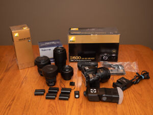 Nikon D600 with 5 lenses and many accessories