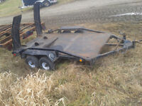 Utility trailer with rear ramps tandem torsion axles 54 x 104
