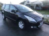 10 PEUGEOT 5008 SPORT 1.6 HDI 7 SEATS BLACK 74000 MILES FSH VERY CLEAN EXAMPLE