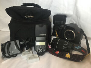 canon rebel t5i, 18-55mm,  flash speedlite 430ex ii, ++