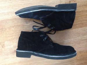 Hush Puppies Black Sz 1 1.5 Leather Suede Desert Boots Kids Boys