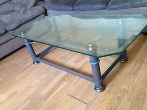 Coffee table and side table modern glass