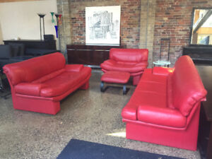 Canadian Made Genuine Red Leather Sofa Set ***Mint Condition!***