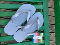 Silver Metalic Havaianas Flip Flop size 2/3 & 4/5