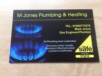 M Jones Plumbing and Heating Gas safe registered plumber