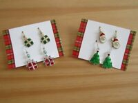 CHRISTMAS FUN EARRINGS - Simple, colourful and fun. 4 pairs of Christmas earrings