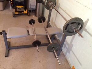 Weight bench, 3bars, approx 300lb of plates