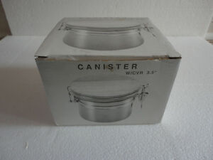 Brand new in box stainless steel canister with wooden lid London Ontario image 2