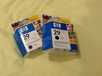 2 HP29 Black 40ml Inkjet Cartridges unused and unopened in original sealed boxes.40ml HP29