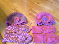 Knitted hat & mittens sets fits ages 2-6