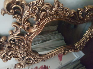 Rare gold antique mirror with mount