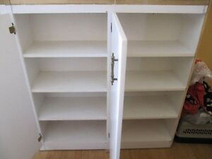 2 Large White Shelves with doors (sold as set)