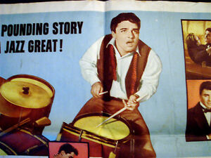 RARE ORIGINAL 1959 GENE KRUPA MOVIE POSTER JAZZ BAND DRUMMER