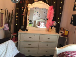 Girls Bedroom Set. Bed, Mattress, Dresser and Mirror.