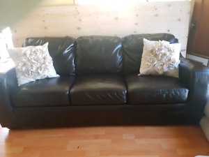 Trendy Black Leather Couch
