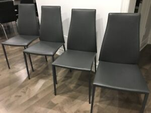 Callagaris Aida Dining Chairs 4 available Grey Leather