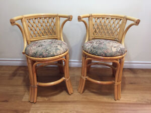 10 pc. Rattan furniture set with tables. Excellent condition.