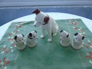 NIPPER,RCA DOG BANK, AND SALT&PEPPER( 2 ) SETS