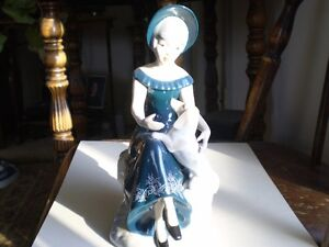 "Porcegama Porcelain Figurine - "" Lady with Dog "" Kitchener / Waterloo Kitchener Area image 1"