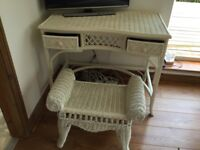Wicker dressing table and stool