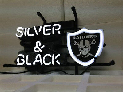 New Oakland Raiders Silver And Black Beer Neon Light Sign 14