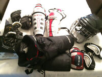 Assorted kids hockey equipment age 5/6/7 (see ind sizes)