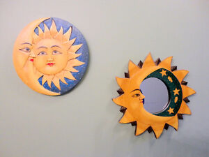 Wooden sun moon theme wall hanging plaque and mirror set