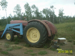 Massey 555 with loader & bale fork Strathcona County Edmonton Area image 1