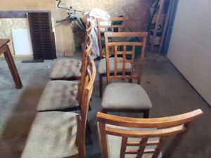 6 Solid Wood Chairs w/ free table