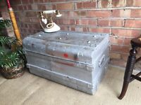 VINTAGE TRUNK CHEST FREE DELIVERY COFFEE TABLE 19th Century