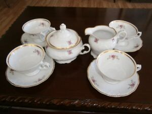 COMPLETE TEA SET WITH CREAM & SUGAR FOUR CUP AND SAUCERS