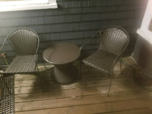 Patio 3pc wicker set $75 firm