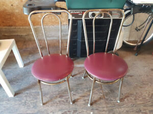 Two Vintage Chrome Round Seat Chairs
