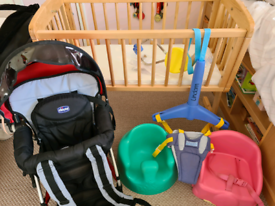 Baby crib, carrier, bumbo, bouncer and booster seat