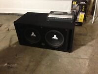 """2 12"""" JL Subs in ported box with kenwood amp"""