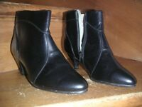 Black Leather Ankle Boots Size 39, like new condition.