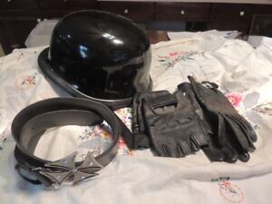 GERMAN STYLE HELMET WITH 2 PAIRS GLOVES AND BELT