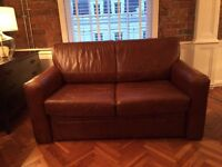 Brown Leather 2 Seater Sofa bed