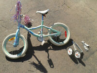 kids bike with training wheels.